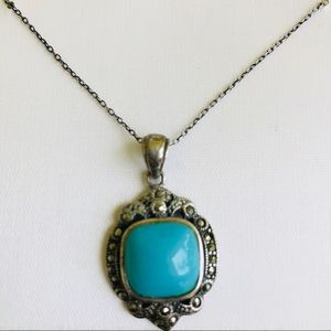 Silver Turquoise Marcasite pendant Necklace